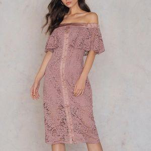 NWT Blush Off The Shoulder Stunning Midi Dress